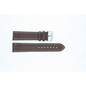 Cinturino orologio in pelle di vitello di bufalo, marrone medio con cuciture bianche, 24mm 518