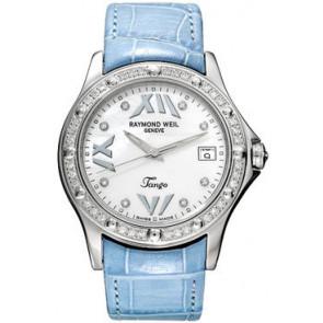 Cinturino per orologio Raymond Weil SI2003-TANGOB-C8 Pelle di coccodrillo Blu 20mm