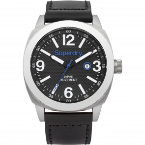 Cinturino per orologio Superdry SYG144BB Pelle Nero 24mm