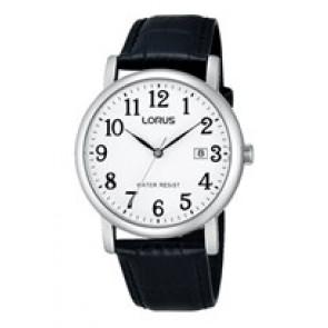 Lorus cinturino dell'orologio VJ32 X246 Pelle Nero 20mm + cuciture nero