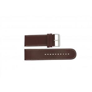 Prisma cinturino dell'orologio 28BR Pelle Marrone 28mm + cuciture bianco