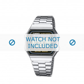 Casio cinturino orologio A168WA-1YES / A168WA-1Y Acciaio Argento 18mm