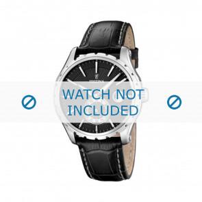 Festina cinturino orologio F16486/1 Pelle Nero 23mm + cuciture bianco