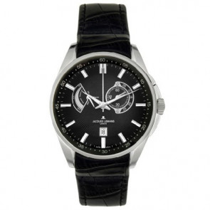 Jacques Lemans cinturino dell'orologio G175 Pelle Nero 22mm + cuciture nero