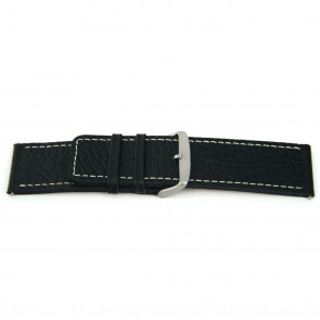 Cinturino orologio in vera pelle, nero con cuciture bianche, 22mm EX-H79