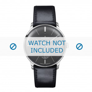 Junghans cinturino dell'orologio 027/3503.00 Pelle Nero 20mm + cuciture di default