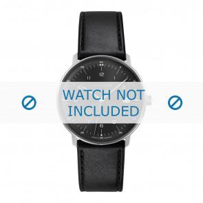Junghans cinturino dell'orologio 041/4462.00 Pelle Nero 20mm + cuciture di default