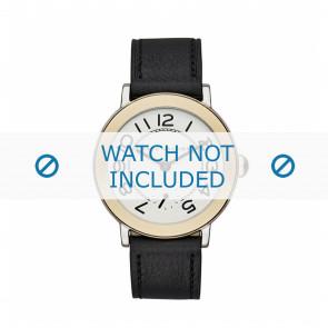 Marc by Marc Jacobs cinturino dell'orologio MJ1514 Pelle Nero 18mm + cuciture nero