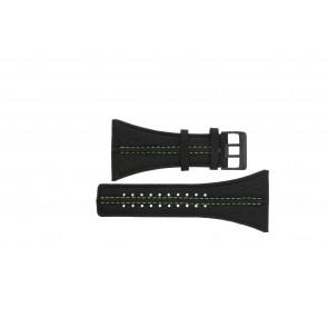 Police cinturino dell'orologio PL13497JSB.02 / GR Pelle Nero 44mm + cuciture verde