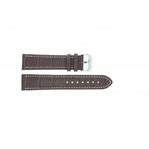 Cinturino orologio in pelle di vitello di bufalo, marrone medio con cuciture bianche, 24mm 518xl