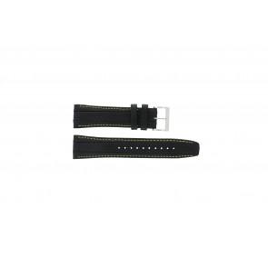 Seiko cinturino dell'orologio 7T62-0HL0 / SNAB57P1 / 4LP3JB Pelle Nero 24mm + cuciture giallo