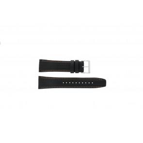 Seiko cinturino dell'orologio 7T62-0HL0 / SNAB59P1 / SNAB59JC / SNAB59J1 Pelle Nero 24mm + cuciture arancione