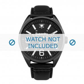 Superdry cinturino dell'orologio SYG199BB Pelle Nero + cuciture nero