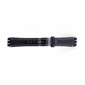 Cinturino orologio in vera pelle di coccodrillo per Swatch, blu, 19mm ES- 2.05