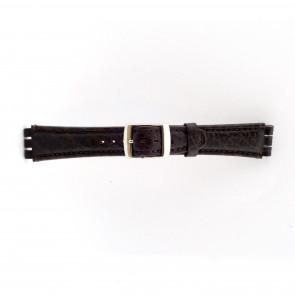 Cinturino orologio per Swatch in vera pelle, marrone scuro, 19mm 21412