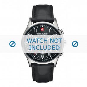 Swiss Military Hanowa cinturino dell'orologio 06-4187.04.007 Pelle Nero 22mm + cuciture nero