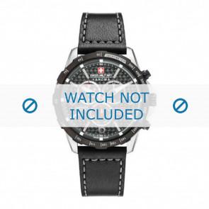 Swiss Military Hanowa cinturino dell'orologio 06-4251.33.001 Pelle Nero 24mm + cuciture grigio