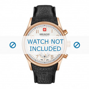 Swiss Military Hanowa cinturino dell'orologio 06-4278.09.001 Pelle Nero + cuciture nero
