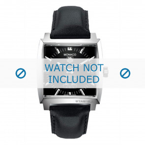 Tag Heuer cinturino dell'orologio FC6171 Pelle Nero + cuciture nero