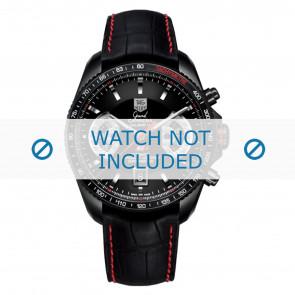 Tag Heuer cinturino dell'orologio FC6237 Pelle Nero + cuciture rosso