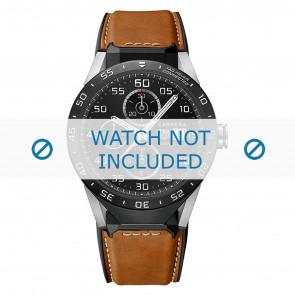 Tag Heuer cinturino dell'orologio FT6070 Pelle Cognac + cuciture bianco