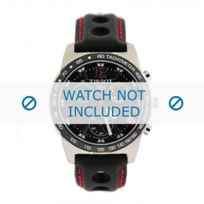 Tissot cinturino dell'orologio J378-478 PR-50 - T600020323 Pelle Nero 19mm + cuciture rosso