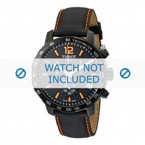 Tissot cinturino dell'orologio T095.417.360.570.0 - T600035367 / T095.417.A Pelle Nero 19mm + cuciture arancione