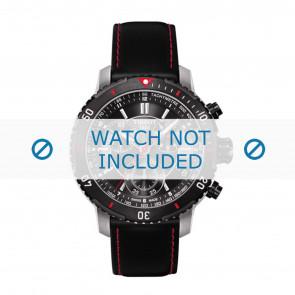 Tissot cinturino dell'orologio T067.417.260.5100 T067417A - T610031781 Pelle Nero 19mm + cuciture rosso