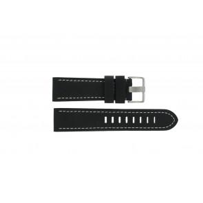 Prisma cinturino dell'orologio ZWST23 Pelle Nero 23mm + cuciture bianco